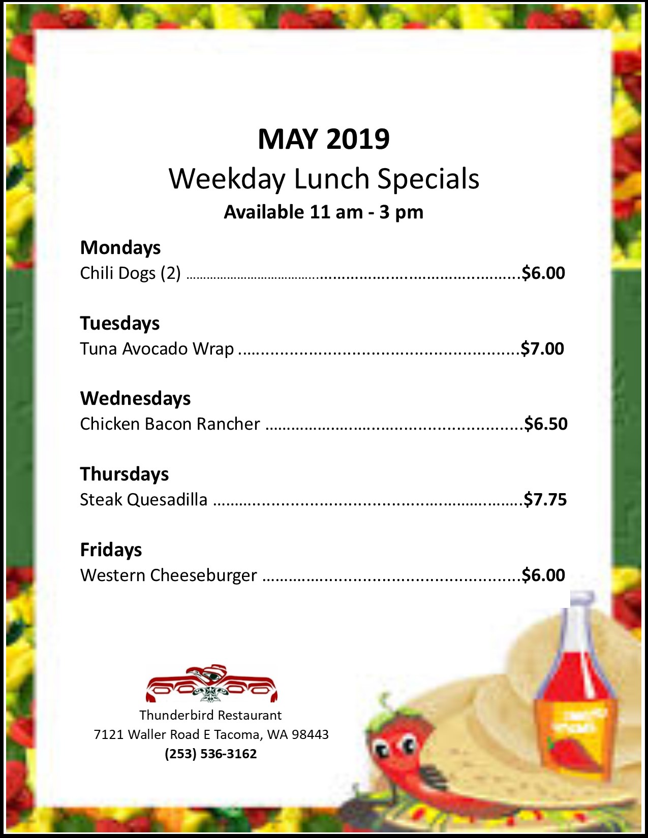 Weekday Lunch Specials February 2019